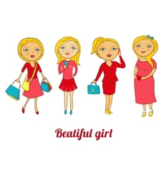 Set of beautiful girls in different roles vector image vector image