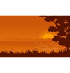 Silhouette of lake and tree landscape vector image