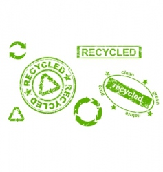 grunge recycled symbols and stamps vector image vector image