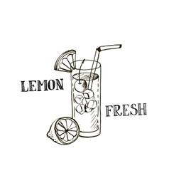 hand drawn lemonad in glass vector image