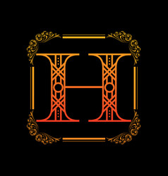 Letter h with ornament vector