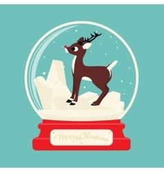 Merry christmas glass ball with Reindeer Rudolf vector image