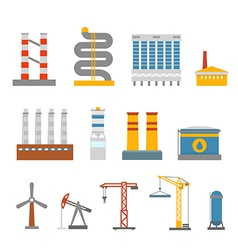 Modern factory buildings collection vector image