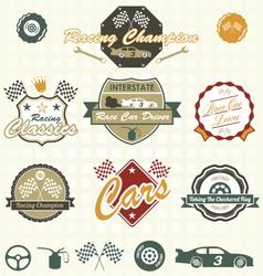 Retro Car Racing Labels vector image