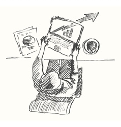 Sketch man computer office work drawn top view vector