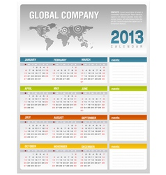 2013 corporate calendar template vector image