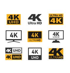 4k uhd display resolution icons ultra hd vector