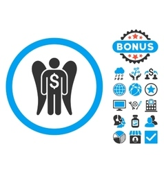 Angel Investor Flat Icon with Bonus vector