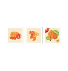 Autumn nature social media posts mockup set vector