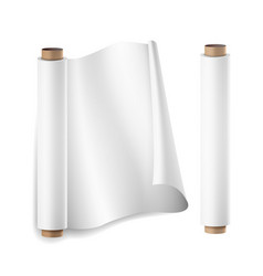 Baking paper roll close up top view vector