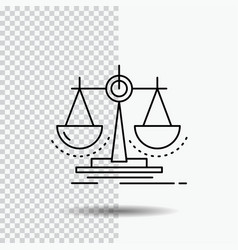 Balance decision justice law scale line icon on vector