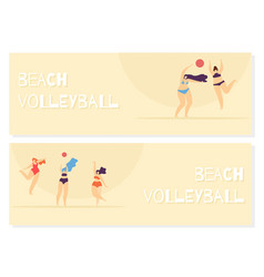 beach volleyball playing woman body vector image
