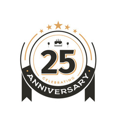 Birtday vintage logo template to 25 th anniversary vector