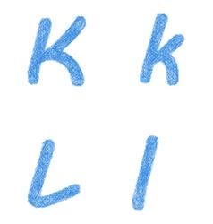 Blue sketch font set - letters K L vector image