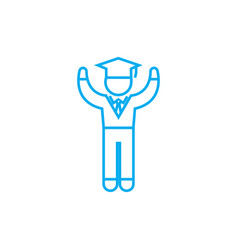 boy student linear icon concept boy student line vector image