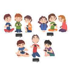 boys and girls playing video games set children vector image