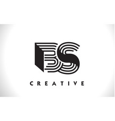 Bs logo letter with black lines design line letter vector