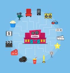 Cartoon cinema building and element movie concept vector