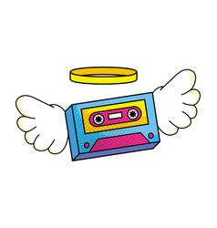 Cassette with wings vector