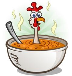 Chicken soup cartoon character vector