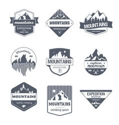 Climbing sport - vintage set logos vector