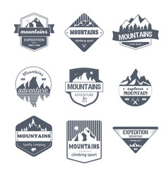 Climbing sport - vintage set of logos vector