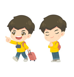 collection cute tourism boy in many pose vector image