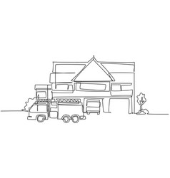 continuous one line drawing fire station vector image
