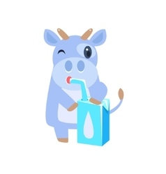 Cow Drinking Milk From Carton Box With Straw vector