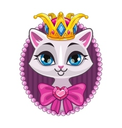 Cute beautiful princess kitty portrait vector image