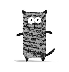 cute knitting cat sketch for your design vector image