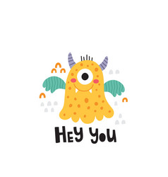 Cute yellow monster and lettering text vector
