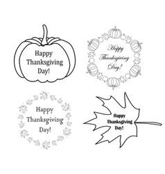 decorative design elements with pumpkins vector image