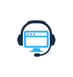 desktop podcast logo icon design vector image