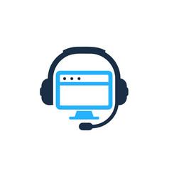 desktop podcast logo icon design vector image
