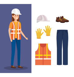 Female builder with equipment vector