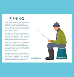 fisherman near ice hole winter fishing poster vector image