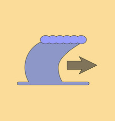 Flat icon stylish background tsunami movement vector