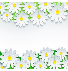Floral background frame with 3d flower chamomile vector image