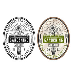 Gardening service set of two style stickers vector