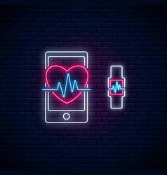 glowing neon sign of healthy mobile app heart vector image