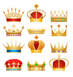 Gold king crowns vector