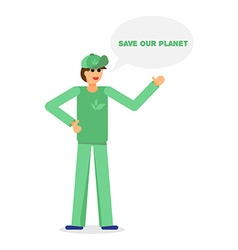 Green activist and ecology vector
