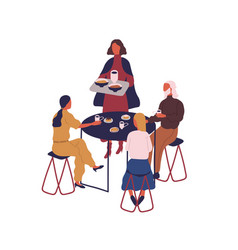 group cartoon people eating meal sitting at vector image