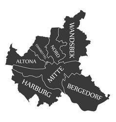 Hamburg city map germany de labelled black vector