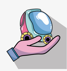 Hand with futuristic car with modern element vector