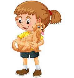 Happy girl cartoon character hugging a cute dog vector