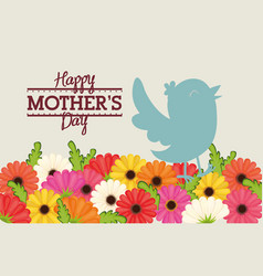 Happy mothers day bird flowers decoration card vector