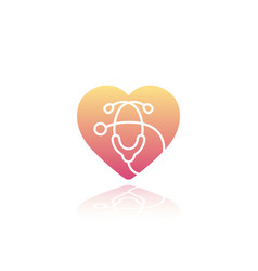 Heart with stethoscope icon on white vector