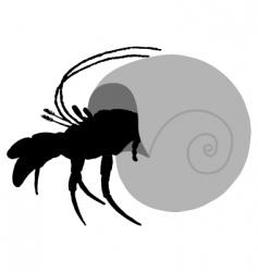 Hermit crab silhouette vector